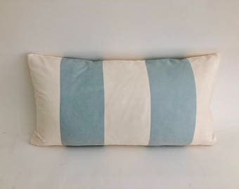 Ultra Suede Baby Blue Striped Accent Pillow