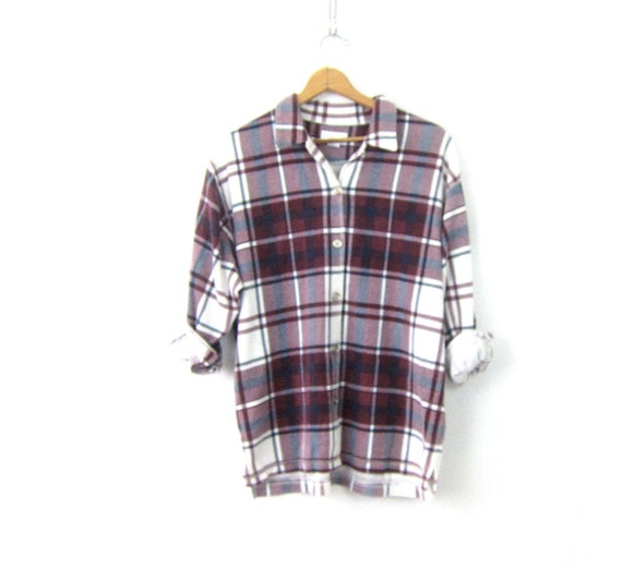 Purple White Plaid Thermal Shirt 90s Long Underwear Shirt Grunge Button Up Shirt Oversized Slouchy Button Down Shirt Vintage Womens Large