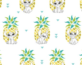 Pineapple in White Lilo and Stitch Disney Woven Cotton Fabric BTY