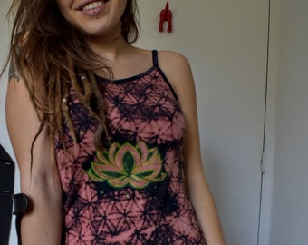 Flower of life tank top pink lotus flower and blue lotus flower flower of life