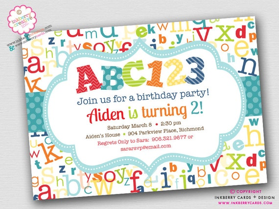 Colorful Alphabet Birthday ABC123 Printable Party INSTANT