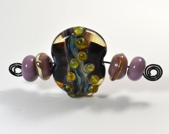 Set of 5 Artisan handmade lampwork glass beads torched to the flame for bracelet or necklace, big black focal raku bead