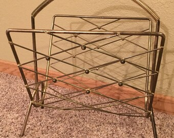 Vintage Magazine Rack Brass Gold Tone Metal - Hollywood Regency Mid Century Coil Handle