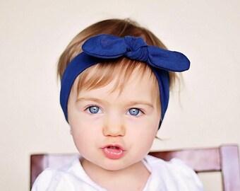 Navy Blue Head wrap,  Bow Headband. Baby girl, newborn , Headwrap turban boho, cotton wrap