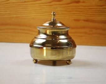 Small Vintage Brass container, gold urn, Kitchen Storage  | made in Sweden | home decor | Scandinavia