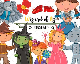 Wizard of Oz Clipart, Oz Clip Art, Wicked Witch, Flying Monkey Clipart, High Resolution, Commercial Use Clipart, Instant Download