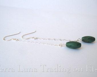 Turquoise Drop Earrings - Genuine Turquoise Stone On Sterling Silver Chain Earrings Handmade December Birthstone Southwest Jewelry