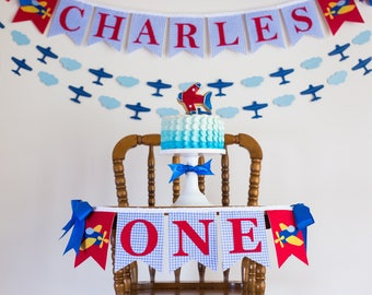 AIRPLANE BIRTHDAY BANNER / Highchair banner boy / Airplane birthday party. 1st Birthday Boy. One Highchair Banner. First birthday boy banner