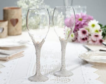Personalized Birch Wood Rustic Country Wood Wedding Toasting Wine Glasses - Set of 2 Custom Engraved with your name & date