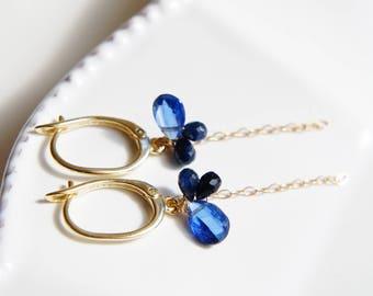 Kyanite Sapphire Lever back Earrings, Blue Gemstones Earrings, Navy Indigo Blue Jewelry, Gold Earrings
