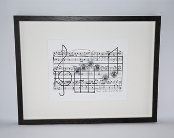 Music wall art decor sheet music artwork Music teacher gift, Music notes, Music lover gift, Classical musician gift, Quotes, Frame included