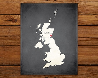 Customized Printable United Kingdom Country Map Art - DIGITAL FILE - Aged-Look Canvas Wall Art Print