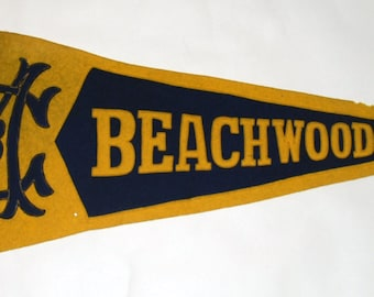 Genuine Vintage Original Early Felt Sewn Letters Pennant Beachwood Me.-- Free Shipping!