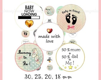 It's A Boy, It's A Girl, Bottle Cap Images, Digital Collage Sheet, 1 Inch Circles, gender reveal Birth announcement Instant Download.
