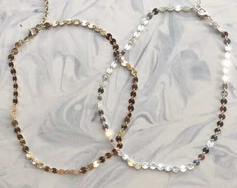 1pc gold OR silver disk-chain choker 14""