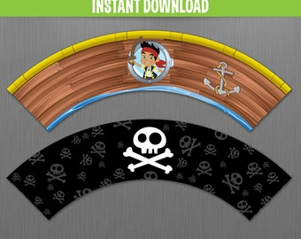 Disney Jake and the Neverland Pirates Cupcake Wrappers - Instant Download - Edit and print at home with Adobe Reader
