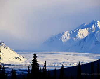 Glenn Highway Glacier View, Fine Art Photograph on Gallery-Wrapped Canvas, or High Gloss Metal, Ready to Hang Wall Art
