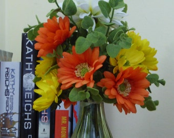 Orange and Yellow silk arrangement, Small Green vase of perky flowers