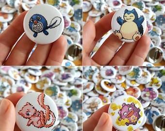 "Pokemon Pixel Sprite Pinback Buttons | 1.5"" | Original 151 Pokemon Pins"