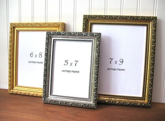 Small ORNATE FRAME Antique Gold & Silver Picture Photo Frame 3x4 3.5 ...