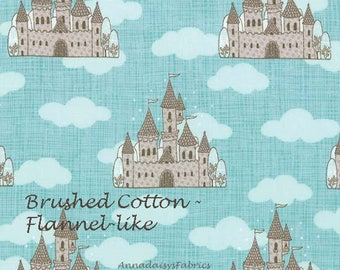 Brushed Cotton Castle Quilt Fabric, Moda Story Book 13111 Aqua, Baby Quilt Fabric, Kate & Birdie Paper Co, Flannel Like