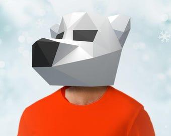 Polar Bear Mask Papercraft PDF DIY Paper Craft Low Poly Paper White Bear Head
