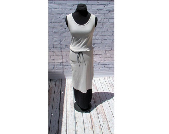 Gray and Black Organic Cotton Maxi Dress