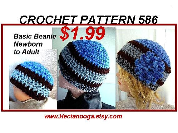 Hat Crochet Pattern Basic Beanie Hat Baby Adult Men Man