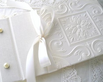 Wedding Guest Book or Photo Album, Personalized Vintage Inspired White or Ivory