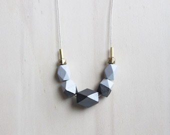 gray, anthracite wooden geometric necklace // hand painted necklace for girls, women - minimalist everyday jewelry - eco-friendly