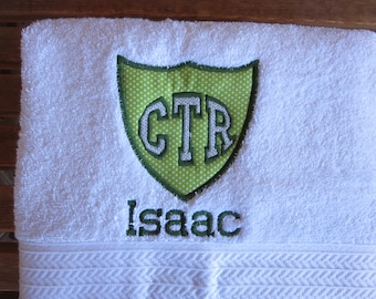 CTR White Towel -Personalized CTR Towel With Green Applique Shield