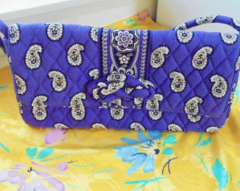 Vera Bradley quilted purple handbag shoulder bag clutch purse
