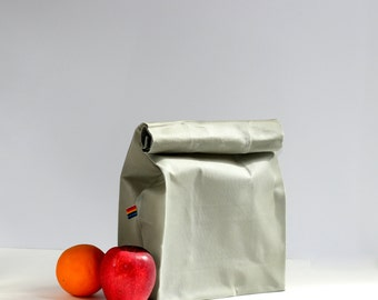 Reusable Waxed Canvas Lunch Bag - Paper Bag Style Bag - Light Grey Canvas - Waxed Canvas Lunch Bag for Men and Women - Gift for Him and Her