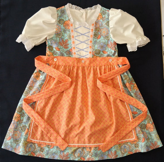 Girls Floral and Tangerine Dirndl