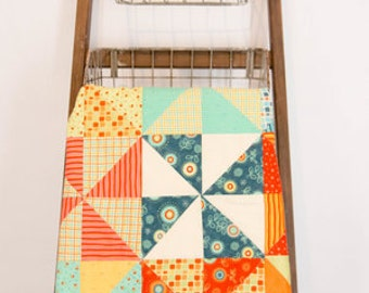 PINWHEELS: MADE to ORDER | Modern Baby Quilt | Toddler Baby Quilt | Handmade Baby Quilt | Baby Quilts for Sale | New Baby | Nursery | Quilt