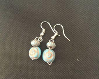 Turquoise and tan dangle drop earrings