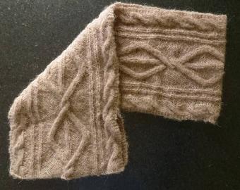 Camel scarf Alpine/silk handmade knit stitch fancy twist