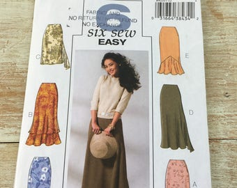 Butterick six sew easy; 3 skirts styles in 2 lengths each; paper Sewing Pattern B4233; Size 12 14 16; Uncut paper pattern--factory folded