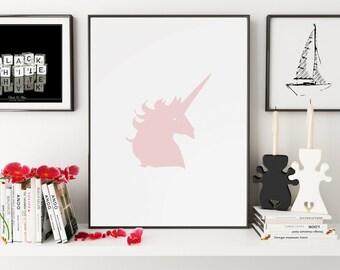 Pink Nursery, Unicorn, Unicorn Print, Unicorn Art, Unicorn Wall Art, Unicorn Gift, Unicorn Nursery, Wall Art, Wall Prints, Printable Art