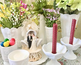 Milk Glass Bowl Milk Glass Vase Wedding Centerpiece Vases for Wedding Candy Dishes for Wedding Bridal Shower Decor Wedding Candles Whte Vase