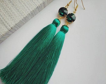 Tassel earrings black red fucsia green yellow beige blue with glass crystals for elegant dress gift for her