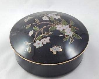 Vintage Black Ceramic Trinket Box