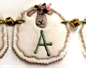 SHEEP ALPHABET BUNTING  Machine embroidery Designs