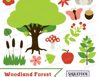 Woodland Forest Nature Clipart - Instant Download File - Digital Graphics - Cute - Crafts, Parties - Commercial & Personal Use - #N005