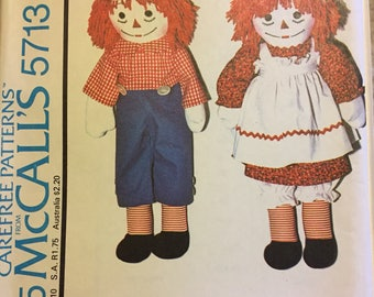 Raggedy Ann and Andy Dolls Sewing Pattern McCalls 5713 Uncut  Complete patterns
