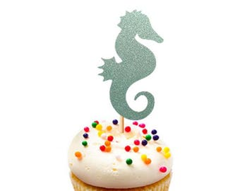 Set of 12Pcs - Glitter Seahorse Party Pick Topper, Birthday, Baby Shower, Cupcake Topper