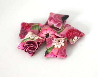 Pink Rose Beads, Polymer Clay Pillow Beads, Sweetheart Flowers, 6 Pieces