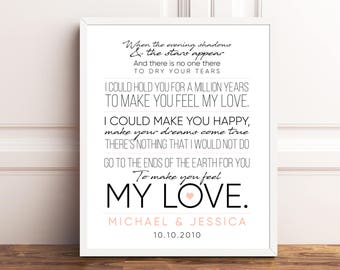 Bob dylan lyrics etsy song lyrics print anniversary gifts engagement gift wedding gift song lyrics wall art song stopboris Images