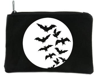 Full Moon with Vampire Bats Flying Cosmetic Makeup Bag Pouch Alternative Gothic Accessories - DYS-HTV-012-MKBG