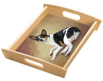 Rat Terrier Dog Wood Serving Tray with Handles Natural
